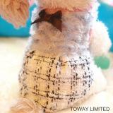 Dog Dress Bowtie invierno lana Reales de perrito cuadrícula