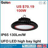 Lâmpada industrial do UFO Highbay que leve a luz elevada do louro do diodo emissor de luz de Dimmable 240W 200W 100W 150W do sensor 130lm/W impermeável