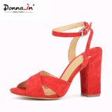 (Donna-в) сандалии женщин высокой пятки кожи замши типа способа толщиные