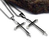 Talla cruzada del colgante 2 del collar de los hombres de acero Titanium de la joyería