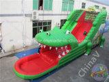 ワニしぶき水プールが付いている膨脹可能な水スライド