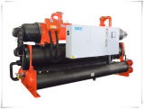 66kw 산업 두 배 압축기 실내 스케이트장을%s 물에 의하여 냉각되는 나사 냉각장치