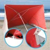 Imediato estalar acima o guarda-chuva de praia com o anti revestimento de prata UV, vermelho