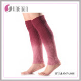 Nuevo diseño del lazo teñido de punto de las mujeres calentador de la pierna