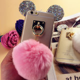iPhone 7을%s 귀여운 Mickey 작풍 다이아몬드 POM POM TPU 이동 전화 뒤 케이스 덮개