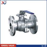 Válvula de esfera flangeada operada manual do aço inoxidável do ANSI 2-PC