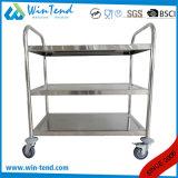 移動ステンレス鋼の取り外し可能な棚の三層のサービングトロリー