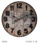 세계 인쇄 벽시계 27in, 고대 브라운