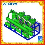 Unidad de condensación del compresor con el condensador refrigerado por agua y el refrigerador de petróleo refrigerado por agua
