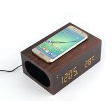 Venda Por Atacado Madeira Multifunção Qi Bluetooth Wireless carregando alto-falante com despertador Qi NFC