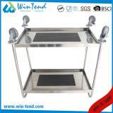 Edelstahl, der 2 Reihe-Größengleichküche-Lebesmittelanschaffung-Laufkatze mit Rädern von Hand eindrückt