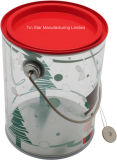 Christmas PromotionのためのプラスチックTransparent Bucket Tin Box