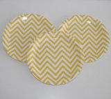 "9 ""Blue Chevron Fruit Paper Plate for Food"