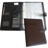 Verbindungselement Closure PU Leather Ring Binder File Padfolio mit Calculator