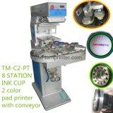 회전 목마 패드 인쇄 기계 기계 (TM-C2-P)를 인쇄하는 2개의 색깔 구부려진 표면