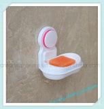 Le mur de salle de bains de ménage évident à l'extérieur le support en plastique d'assiette de savon de cuvette d'aspiration