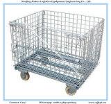 倉庫の記憶のための車輪が付いている電流を通された折る金属線の網のバスケット