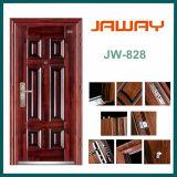 Puerta de acero con las manetas y los bloqueos, puerta de entrada, puerta de acero de la alta calidad de la seguridad