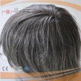 Menschlicher grauer Form-Spitze-Vorderseitemens-Haar-StückToupee des Haar-AA vorderer