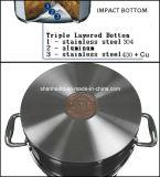 bas du choc 10PCS avec le jeu de cuivre de batterie de cuisine d'acier inoxydable de faisceau