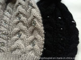 Женщина Knitted Winter Pompom Hat с драгоценностями (HQW16050)