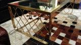 Pinsel-goldener Edelstahl-stellte Glaskaffeetisch für Haus ein (CTS-003)