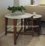 現代様式の木の大理石のコーヒーテーブルの円形の茶表(T-85A+B+C)