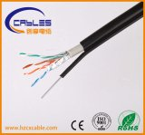 Cable impermeable flexible del cable de Ethernet Cat5e/CAT6 con acero del mensajero
