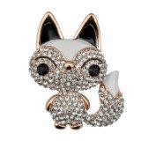 여자를 위한 형식 모조 다이아몬드 아연 합금 Fox 브로치