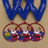 クリスマスのための昇進のカスタムエナメルのサンタの実行メダル