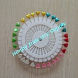 매우 55mm Pearl Head Colored Heart Straight Pin