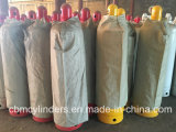 rote Zylinder-Becken des Acetylen-40L mit Ventilen u. Ventil-Schutz