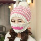 Chapéus feitos malha de Coverd da boca da menina da forma inverno morno