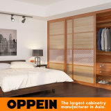 Gabinete de cozinha de madeira da laca do PVC da grão do projeto da casa de campo de Oppein (OP16-Villa1)