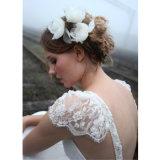 Vestido de casamento Chiffon branco Backless da praia do laço da V-Garganta (SA008)