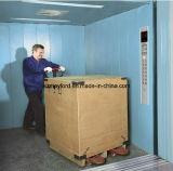Elevador de carga con el sitio de la máquina