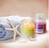 De romantische Gebemerkte Kaarsen van de Gift in de Duidelijke Kruik van het Glas