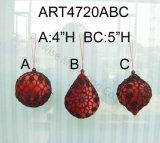 """Sfera rossa del Crochet del diametro 3 """", ornamenti 3asst-Christmas"""