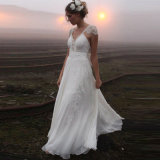 V-Stutzen Spitze-Backless weißes Chiffon- Strand-Hochzeits-Kleid (SA008)