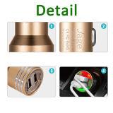 Заряжатель автомобиля мобильного телефона USB металла 5V 2.4A новой конструкции алюминиевый двойной