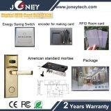 Sistema Keyless do fechamento de porta do quarto de hotel do cartão RFID de MIFARE com chave mecânica