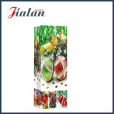 Bolsa de papel laminada brillante del regalo de las compras de la botella de la Navidad del papel de marfil