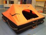 Maneton plus de, radeau de sauvetage gonflable inchavirable et ouvert
