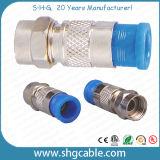 Conetor da compressão de F para o cabo coaxial Rg59 RG6 Rg11 do RF (F036)