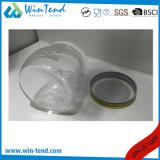 Boîte en verre de choc de mémoire en gros de cuisine avec le couvercle en aluminium d'or de vis