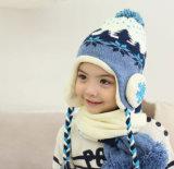Печатание снежка зимы младенца детей малышей вязание крючком Earflap шлема шарфа Beanie милого теплое связанное установленное напольное покрывает шлем авиатора лыжи (HW616)