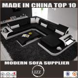 2016 heißes Form-Leder-Sofa des Verkaufs-U für Wohnzimmer-Gebrauch