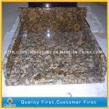 台所のための完全な丸みがある固体表面のGiallo Fioritoの花こう岩のカウンタートップ