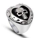 Punk gothique en acier titanique de boucle de crâne de forme de coeur
