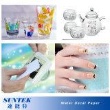 Papel de transferencia del agua para la taza plástica de cristal de cerámica de la vela
